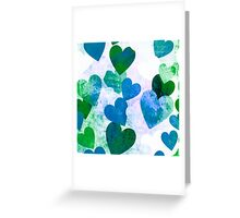 Fab Green & Blue Grungy Hearts Design Greeting Card