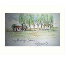 lombardy poplars & farmhouse Art Print