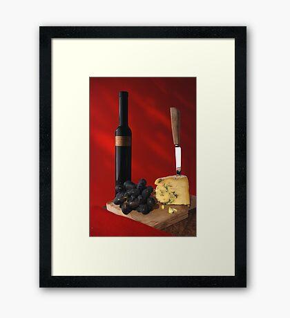 stilton and wine Framed Print