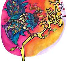 Phoenix Bird On a Cherry Blossom Branch by Phuongmai