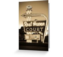 Rest Haven Court Motel. (Alan Copson © 2007) Greeting Card