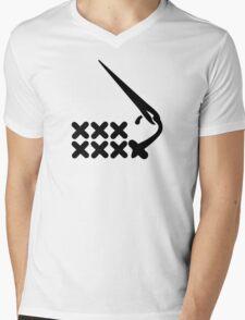 Embroidery Mens V-Neck T-Shirt