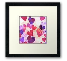 Fab Pink & Purple Grungy Hearts Design Framed Print