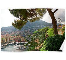 View of Fontvieille Harbor from Saint-Martin Gardens, Monaco Poster