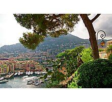 View of Fontvieille Harbor from Saint-Martin Gardens, Monaco Photographic Print