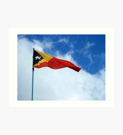 Timor-Leste flag by Richard Jones Art Print