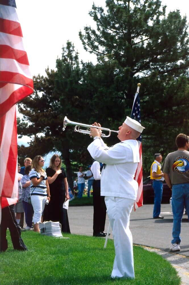 """Sailor Playing """"Taps"""" for Memorial Day Ceremony by SteveOhlsen"""