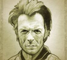 Sepia Clint Eastwood drawing by RobCrandall