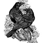 Crows with Heart and Roses by LKBurke29