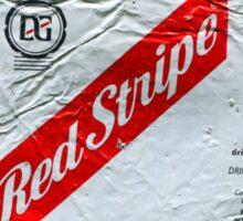 Red Stripe - Crushed Tin Sticker