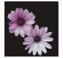Two Pink Cape Daisies on Black Background Kids Clothes