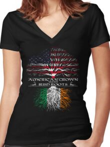 American Grown with Irish Roots Women's Fitted V-Neck T-Shirt