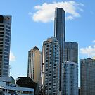 A Group of modern Hi Rise, taken from Ferry. Brisbane. Qld. by Rita Blom