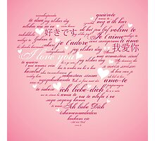 Words of Love Pink Designer Art Photographic Print