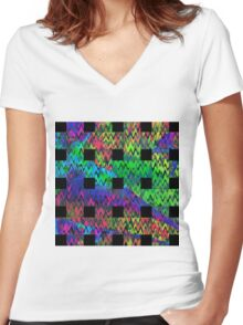 Color Waves Women's Fitted V-Neck T-Shirt