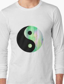 Green Watercolor Yin Yang Long Sleeve T-Shirt