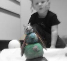 Play dough snowman by Karen Larsson