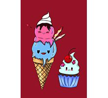 Kawaii Icecream and Cupcake  Photographic Print