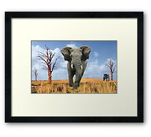 Elephant Charging Framed Print
