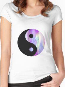 Purple Watercolor Yin Yang Women's Fitted Scoop T-Shirt