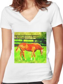 Filly Women's Fitted V-Neck T-Shirt