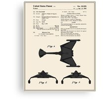 Klingon Fighter Toy Figure Patent- Colour Canvas Print