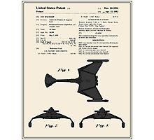 Klingon Fighter Toy Figure Patent- Colour Photographic Print