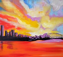 Sydney Harbour Sunset (large) by Tracey Read
