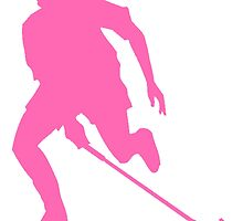 Pink Field Hockey Player Silhouette by kwg2200