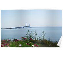 Lake Michigan/Mackinaw Bridge Poster