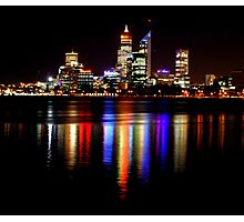 Perth at night over the Swan River, Western Australia Photographic Print