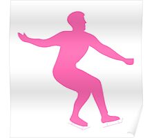 Pink Figure Skate Silhouette Poster