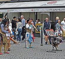 American Indian entertainers, Old Town Square, Prague, Czech Republic. by Margaret  Hyde