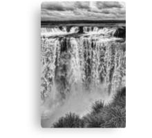 Iguazu Falls - From river level - monochrome Canvas Print