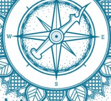 Wanderlust Compass Design - Blue Sticker