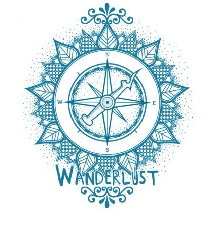 Wanderlust Compass Design - Blue Sticker