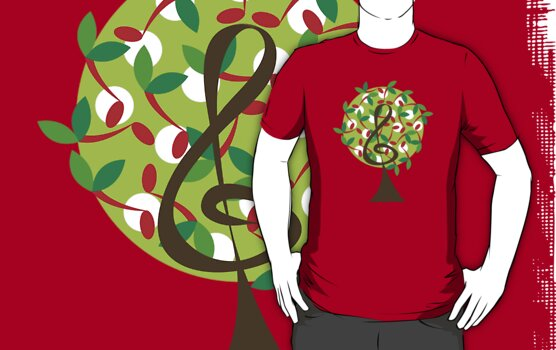 Musical Cherry Notes Tree T-shirt by fatfatin