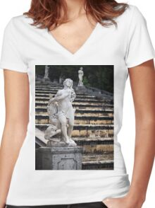 Fountain in the Peterhof Women's Fitted V-Neck T-Shirt