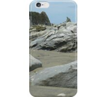 Rocks lining Mangawhai surf beach iPhone Case/Skin