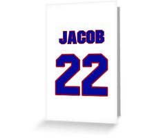 National football player Jacob Hester jersey 22 Greeting Card