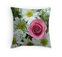 Pink Rose & White Daisy Throw Pillow