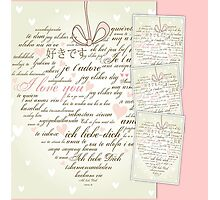 Words of Love Designer Pink Art Photographic Print