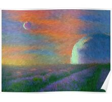 landscape, surreal. alien, fantasy, lavender, fields Poster
