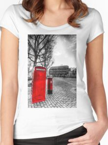 Red Post Box Phone box London Women's Fitted Scoop T-Shirt