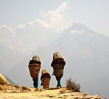 Three women near Everest by Andy North