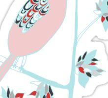 birds on branch illustration tee Sticker