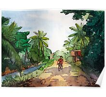landscape watercolor Indian village, a cyclist on the road Poster