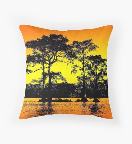 Cypress Tree Silhouettes Throw Pillow