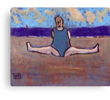 Yoga on the beach Canvas Print