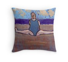 Yoga on the beach Throw Pillow